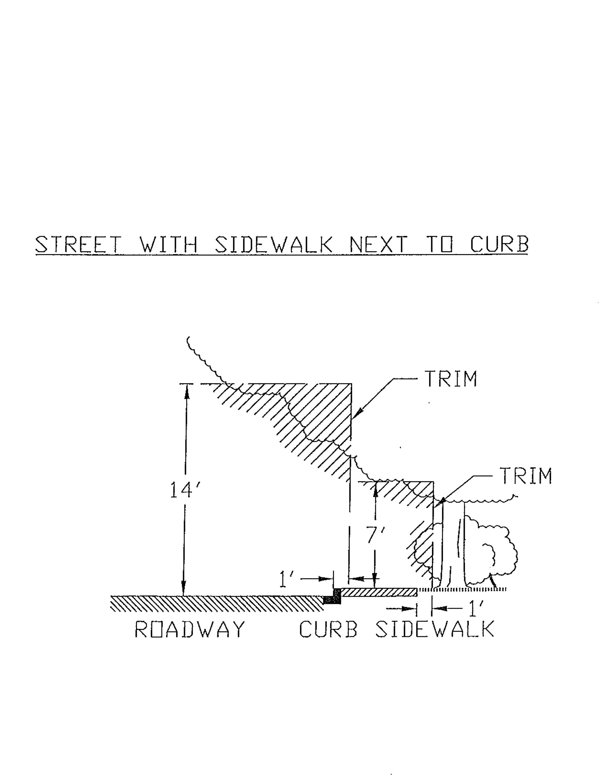 Street with Sidewalk next to Curb