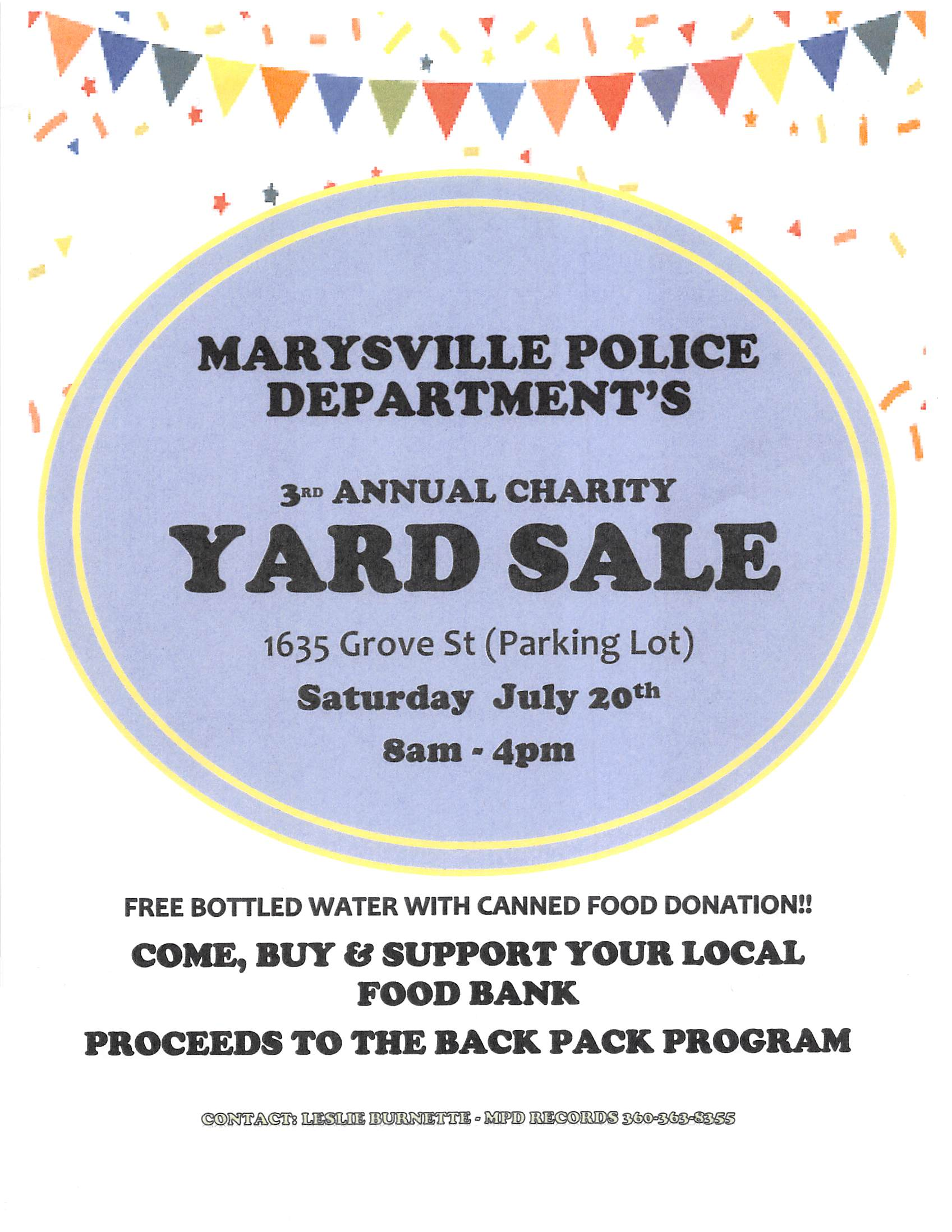 2019 CHARITY YARD SALE July 20 8 am-4 pm 1635 Grove St.