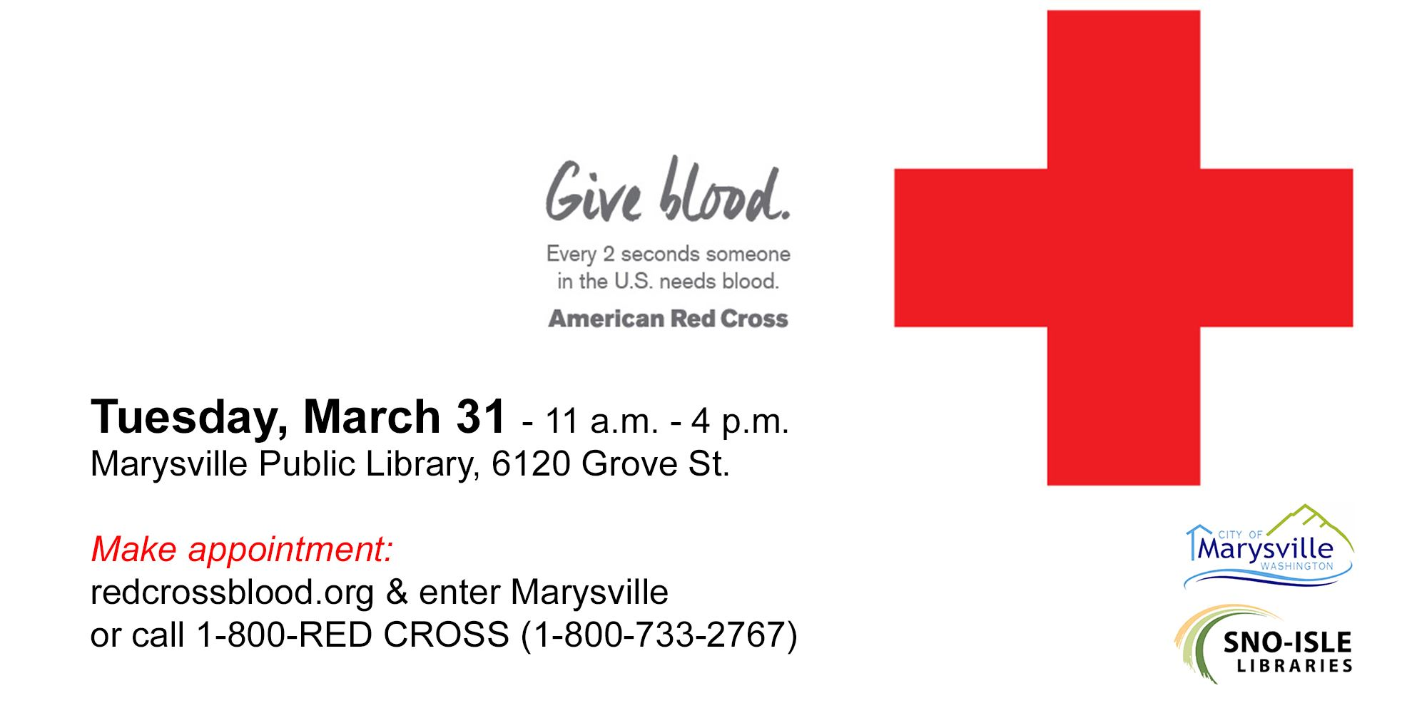 Blood Drive March 31, 11-4 at Marysville Library