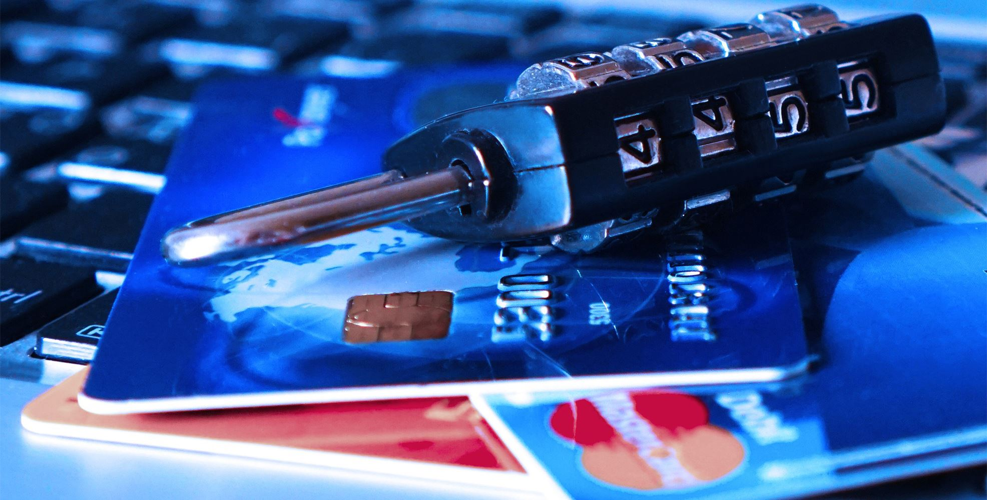 A lock sits on credit cards