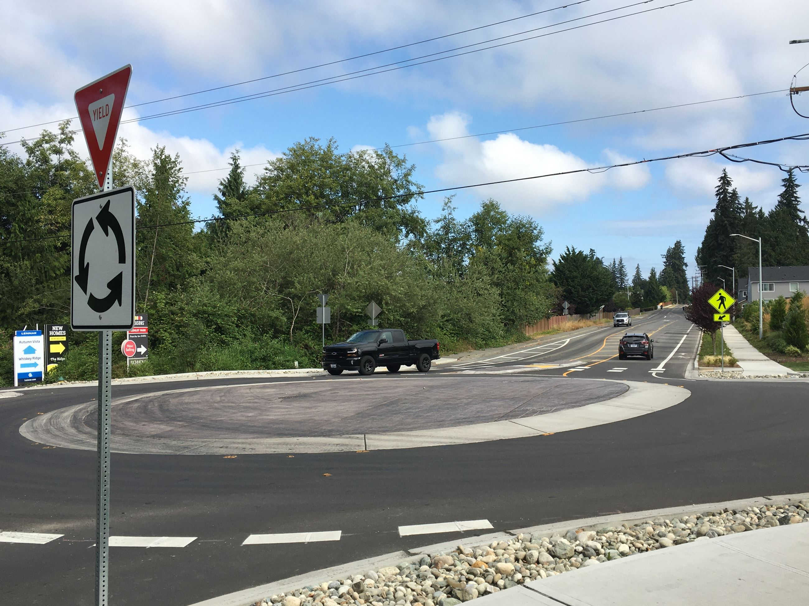 Traffic roundabout at Soper Hill Rd & 83rd Ave NE