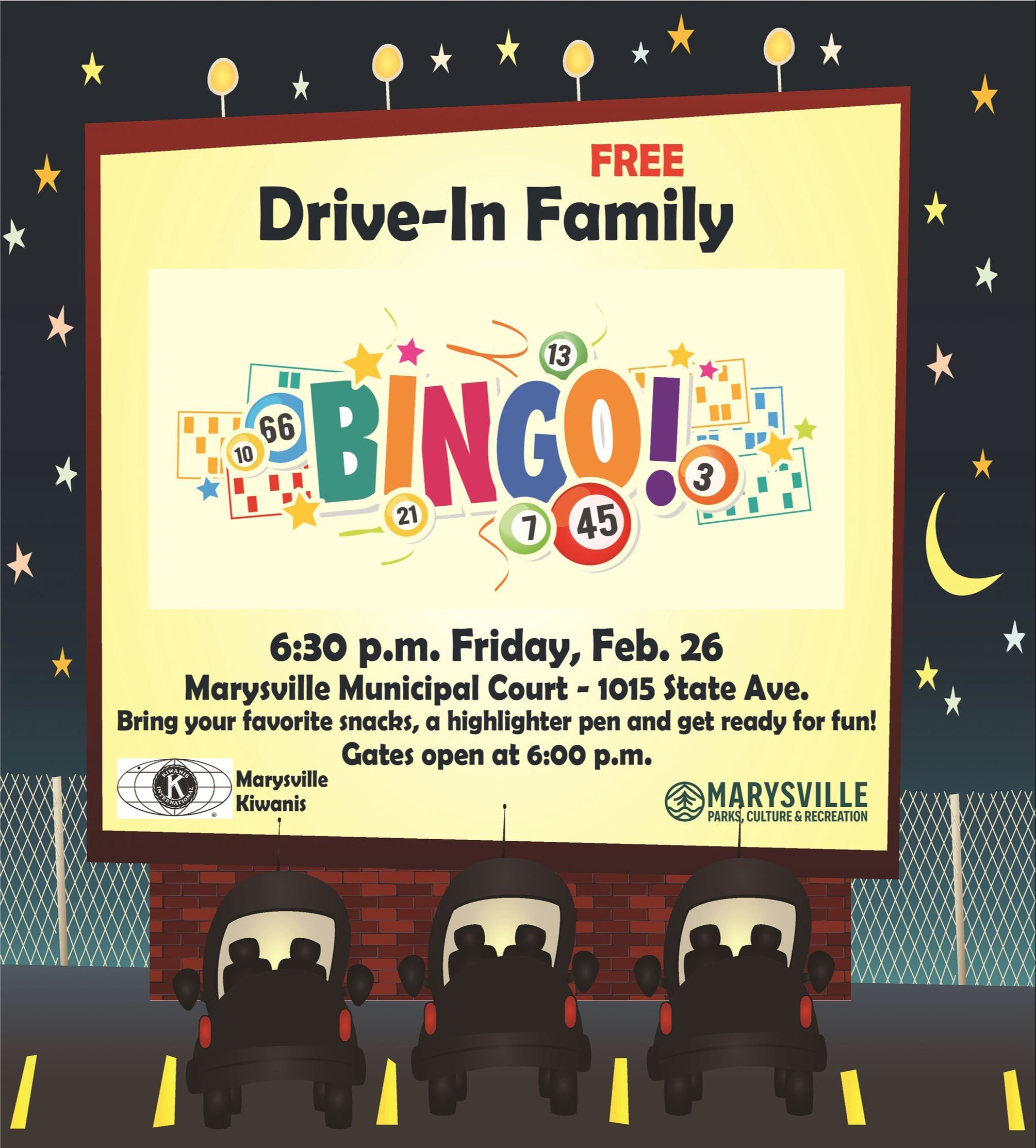 Drive-In Bingo free community event Friday, Feb. 26 at 6:30pm
