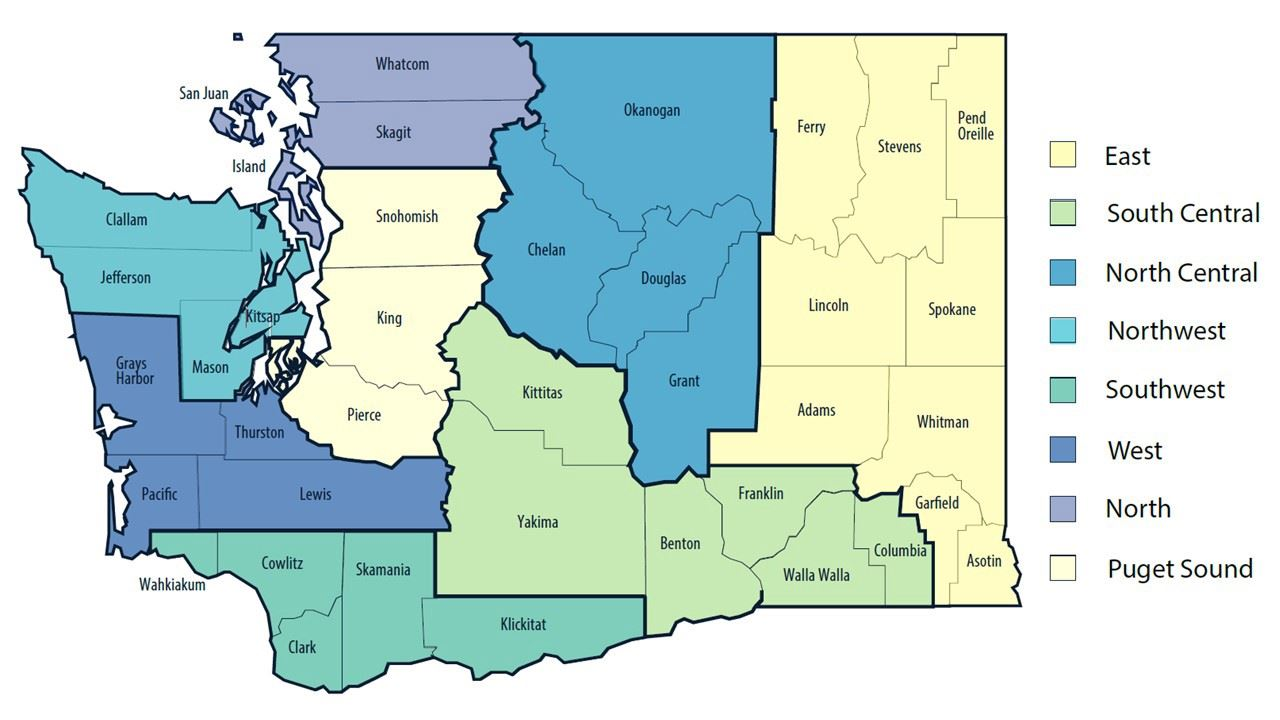 8 regions for Healthy Washington - Roadmap to Recovery announced by Gov. Inslee 1/6/2021
