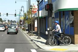 Bicyclist on State Avenue in Downtown Marysville